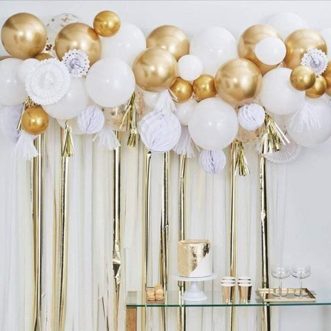 White Gold Balloon Garland Kit - HoorayDays