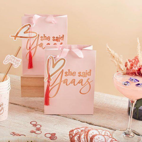 5 Rose Gold Pink Hen Party Bags - HoorayDays