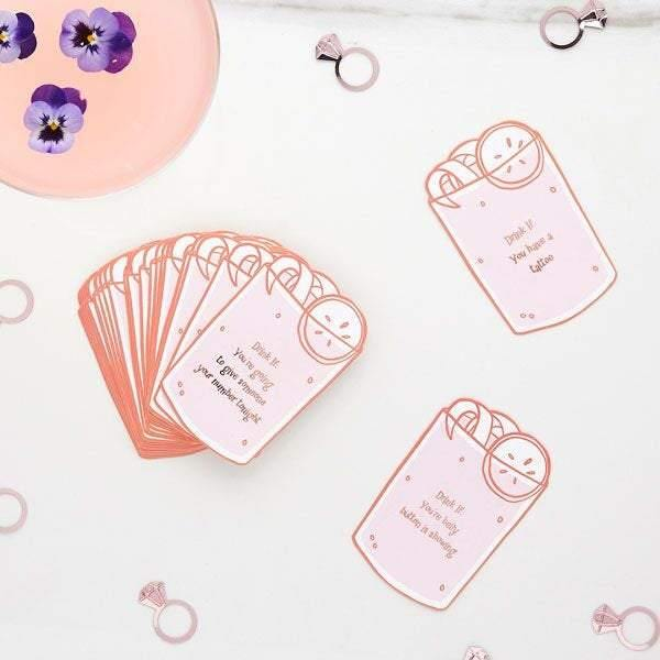 Pink Rose Gold Hen Party Drinking Game - HoorayDays