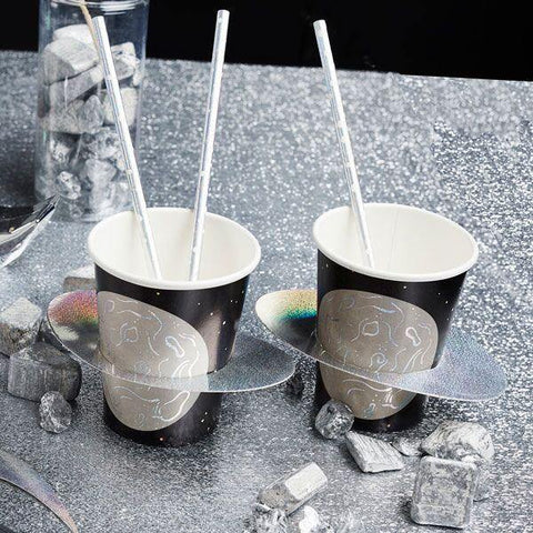 10 Silver Black Space Party Planet Cups - HoorayDays