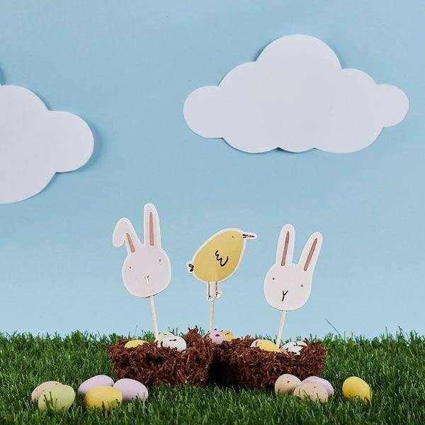 6 Bunny Chick Easter Party Cake Toppers - HoorayDays