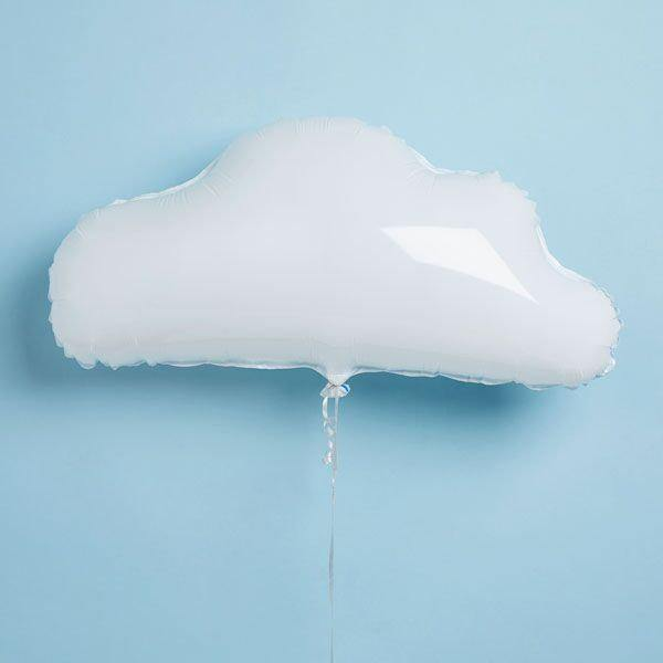 2 White Foil Cloud Balloons - HoorayDays