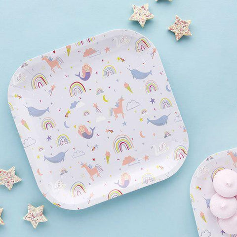 10 Rainbow Mermaid Fairy Unicorn Plates - HoorayDays