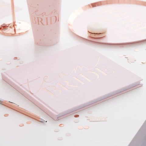Blush Rose Gold Team Bride Hen Party Guest Book - HoorayDays