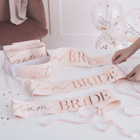 6 Rose Gold Blush Hen Party Sashes - HoorayDays