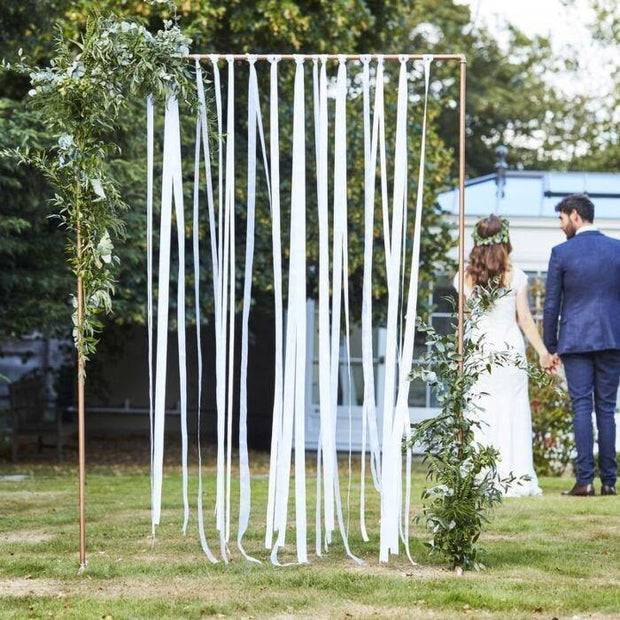 White Ribbon Hanging Wedding Backdrop - HoorayDays