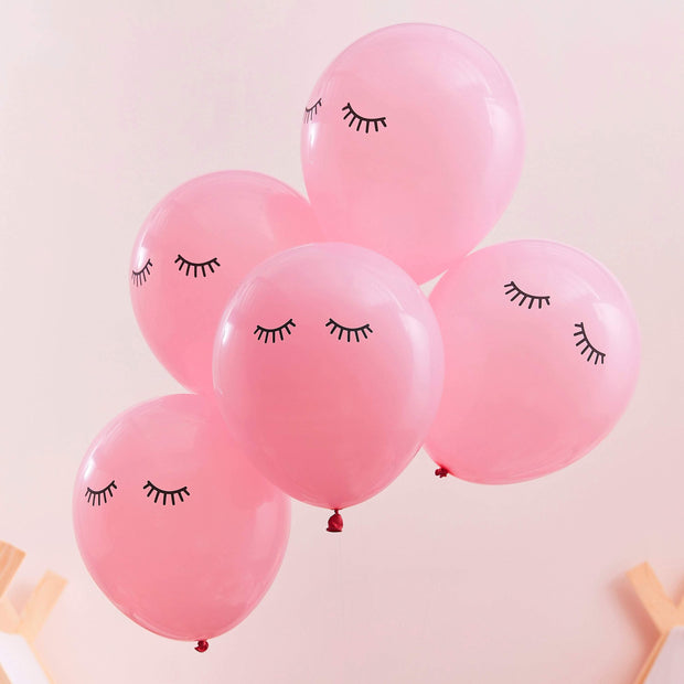 10 Pamper Party Pink Eyelash Balloons - HoorayDays