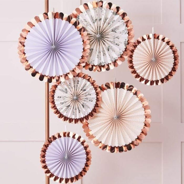 5 Rose Gold Floral Decorations Fans - HoorayDays