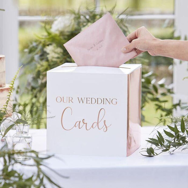 Rustic Rose Gold Wedding Post Box - HoorayDays