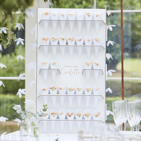 Rose Gold Confetti Cone or Popcorn Holder and Cones - HoorayDays