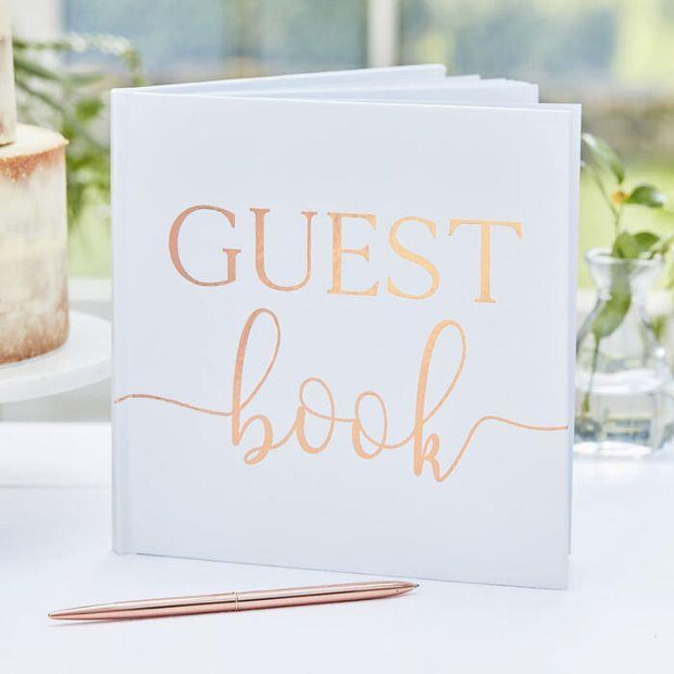 Rose Gold and White Guest Book - HoorayDays