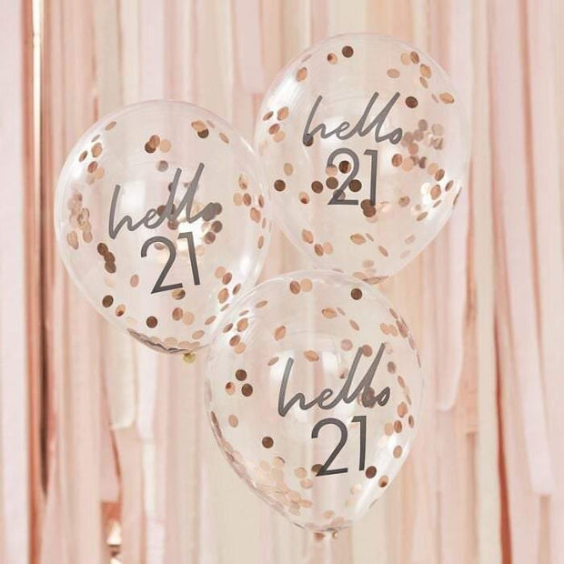 5 Rose Gold 21st Confetti Birthday Balloons - HoorayDays