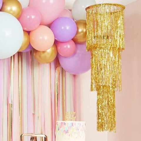 Gold Foil Chandelier Party Decoration - HoorayDays