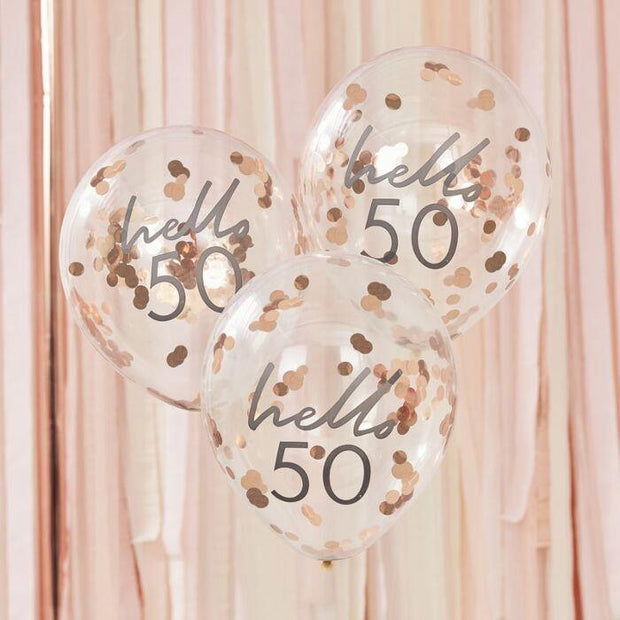 5 Rose Gold 50th Birthday Confetti Balloons - HoorayDays