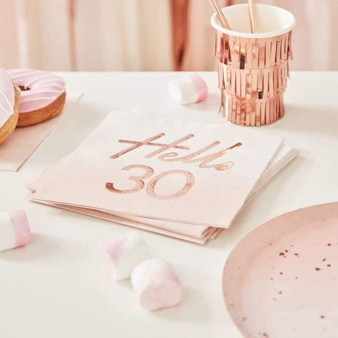16 Rose Gold 30th Birthday Napkins - HoorayDays