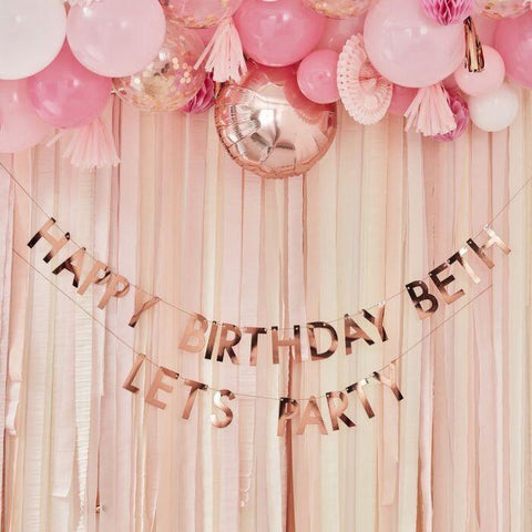 Personalised Rose Gold Birthday Banner - HoorayDays