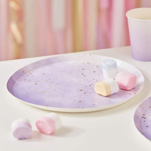 8 Lilac Gold Paper Plates - HoorayDays