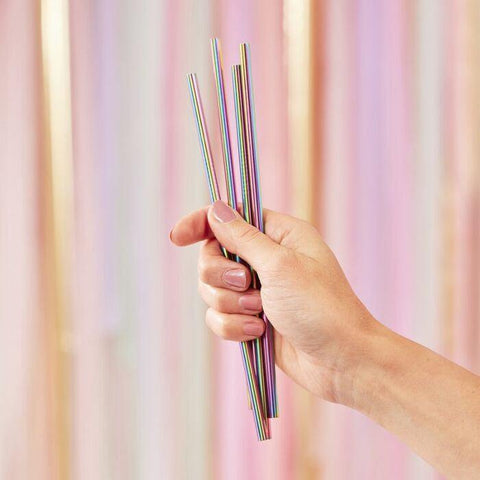 5 Rainbow Stainless Steel Straws - HoorayDays