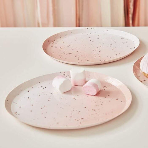 8 Blush Pink Rose Gold Paper Plates - HoorayDays