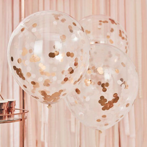 3 Giant Blush Pink Rose Gold Confetti Balloons - HoorayDays