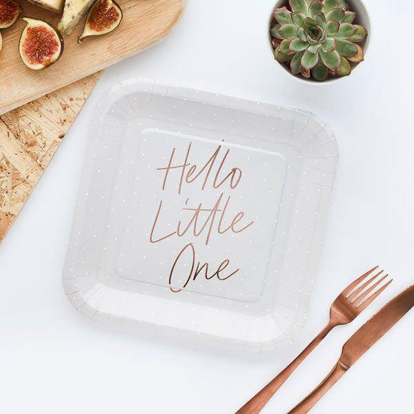 10 Rose Gold Hello Little One Plates - HoorayDays