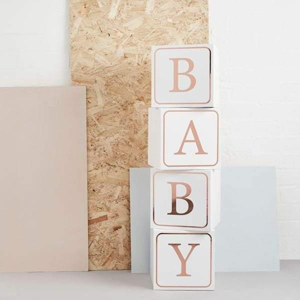 Rose Gold White Baby Shower Blocks - HoorayDays
