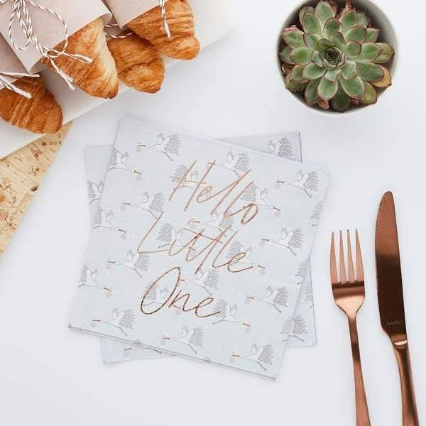 20 Rose Gold Hello Little One Baby Shower Napkins - HoorayDays