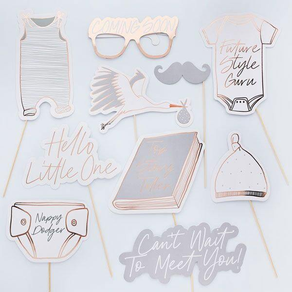 10 Hello Little One Baby Shower Photo Props - HoorayDays