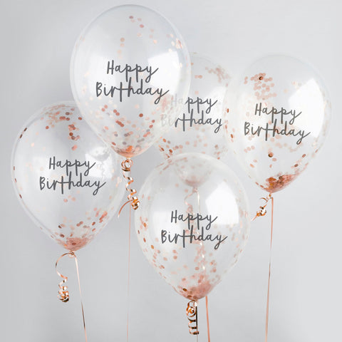 5 Rose Gold Happy Birthday Confetti Balloons - HoorayDays