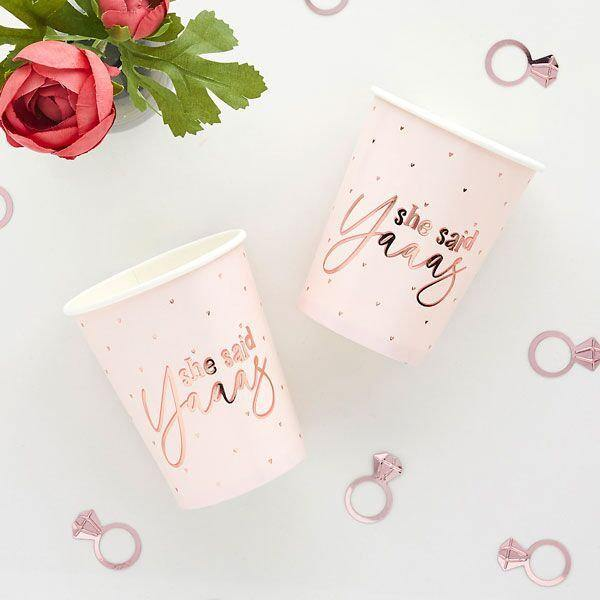 10 Rose Gold She Said Yaaas Hen Party Cups - HoorayDays