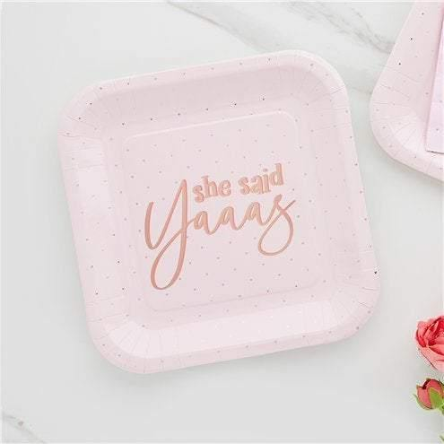 10 Rose Gold Blush Hen Party Plates - HoorayDays