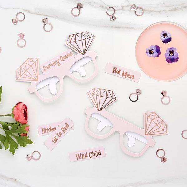 10 Blush Rose Gold Hen Party Glasses - HoorayDays