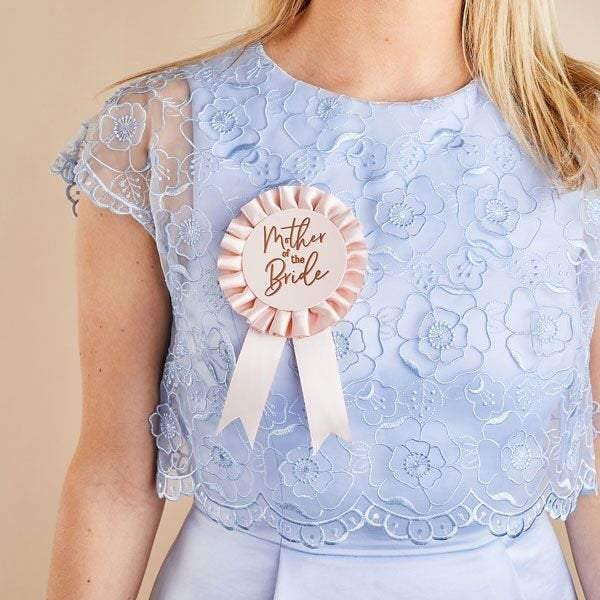 Rose Gold Pink Mother of the Bride Badge - HoorayDays