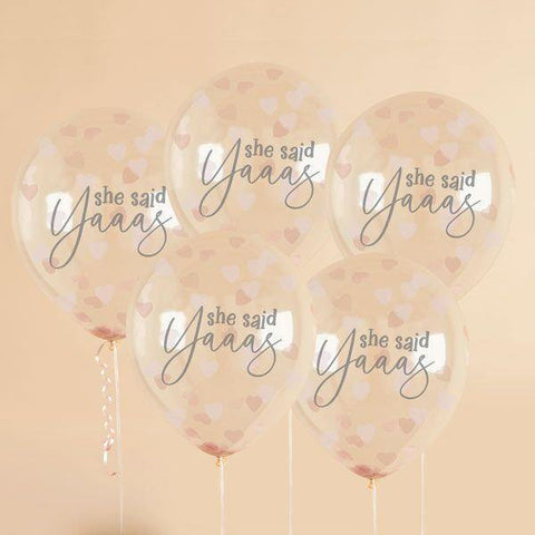 5 Rose Gold Hen Party Bride Confetti Balloons - HoorayDays