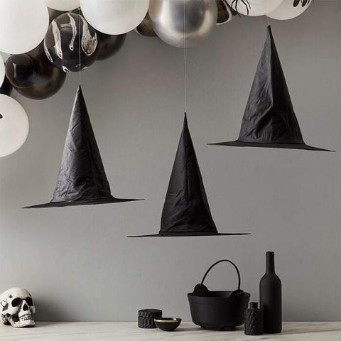 Halloween Black Witch Hats Hanging Decorations - HoorayDays