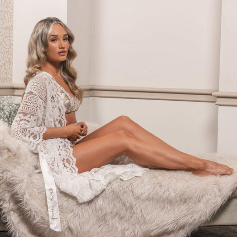 Personalised White Boho Maxi Lace Robe - HoorayDays