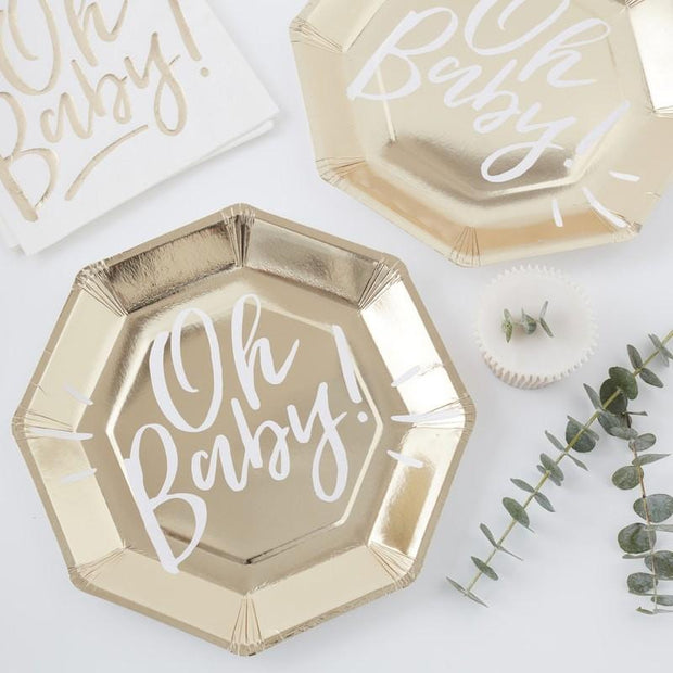 8 Gold and White Oh Baby Paper Plates - HoorayDays