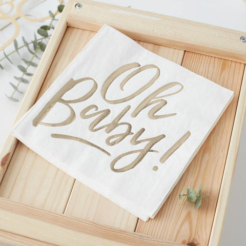 16 Gold and White Oh Baby Napkins - HoorayDays