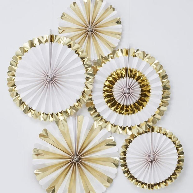 5 White and Gold Paper Fans - HoorayDays