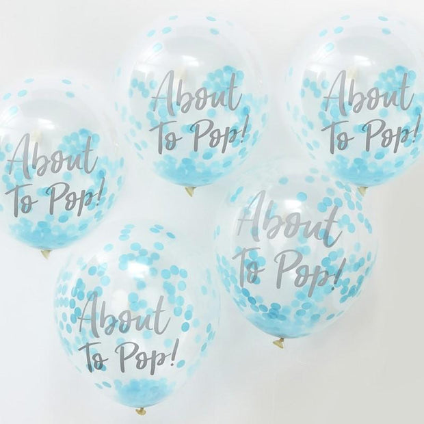 Blue Confetti About to Pop Baby Shower Balloons