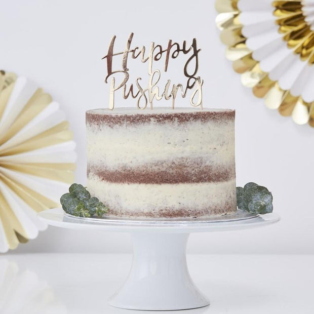 Gold Happy Pushing Cake Topper - HoorayDays