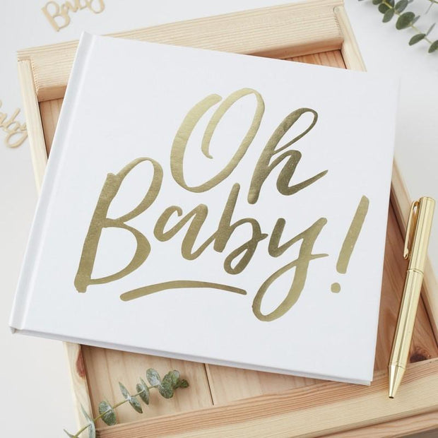 OH Baby Gold and White Guest Book - HoorayDays