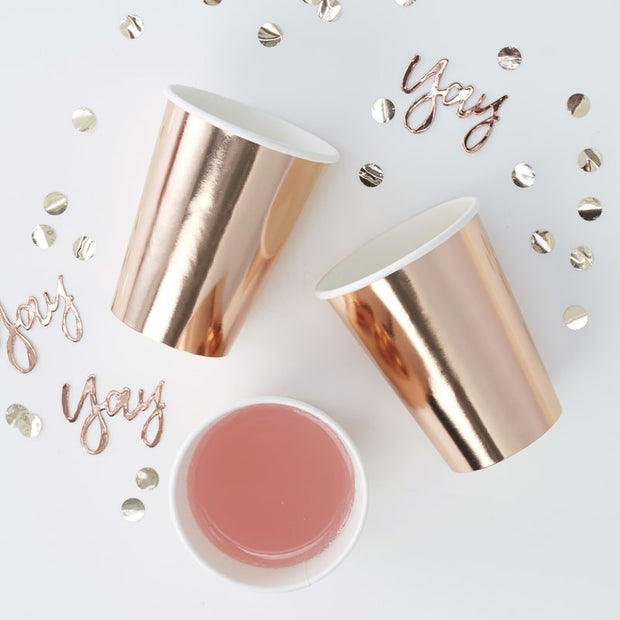 8 Rose Gold Party Cups - HoorayDays