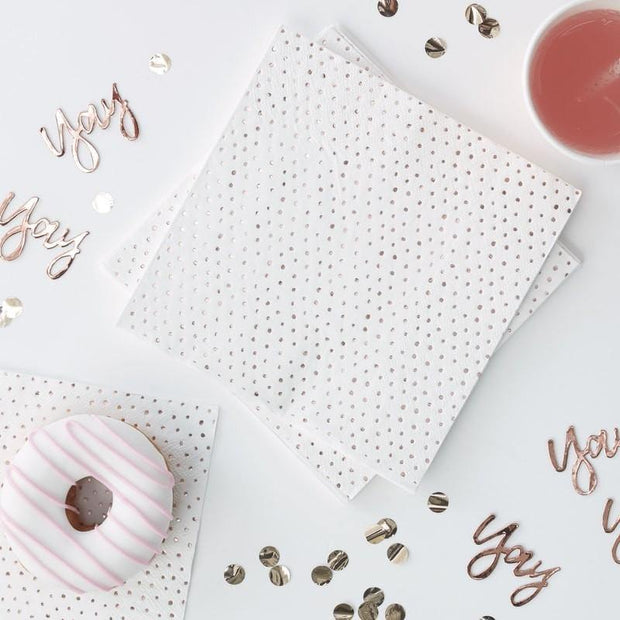 16 Rose Gold Spot Napkins - HoorayDays
