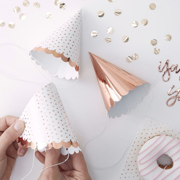 6 Rose Gold Spotty Party Hats - HoorayDays