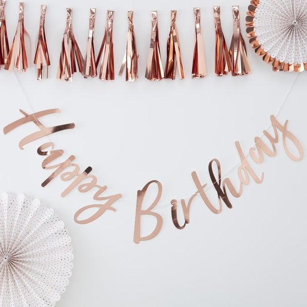 Rose Gold Happy Birthday Bunting - HoorayDays
