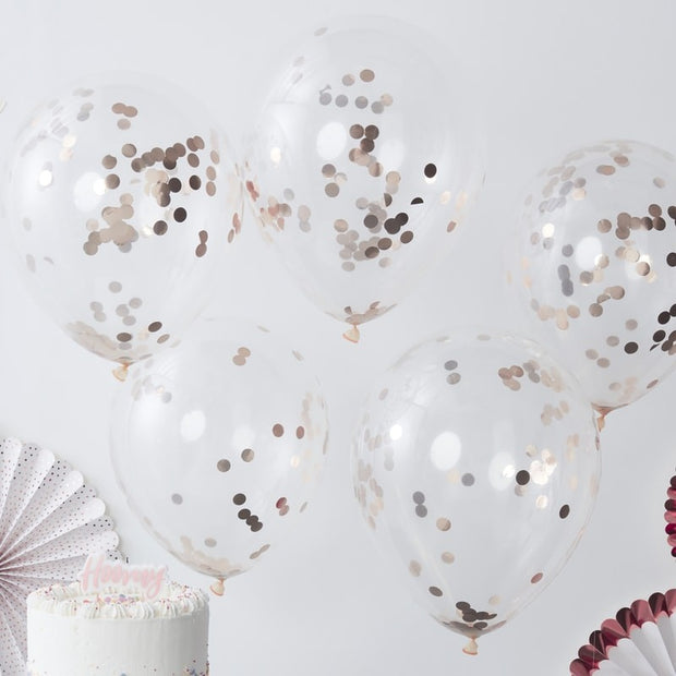 5 Rose Gold Confetti Balloons - HoorayDays
