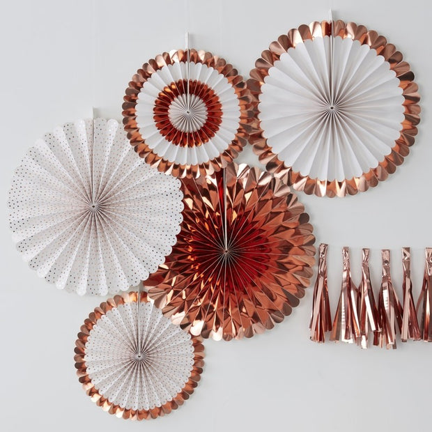 5 White and Rose Gold Paper Fans - HoorayDays