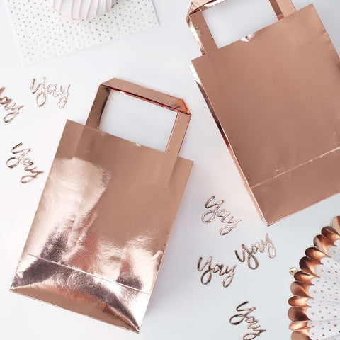 5 Rose Gold Party Bags - HoorayDays