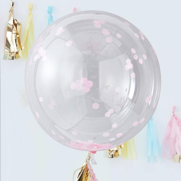 3 Giant Pink Confetti Balloons - HoorayDays